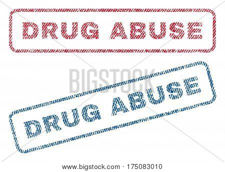 Drug Abuse text textile seal stamp watermarks. Blue, red fabric vectorized texture. Vector caption inside rounded rectangular banner. Rubber sticker with fiber textile structure.