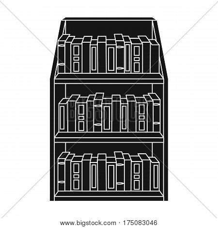 Bookcase icon in black design isolated on white background. Library and bookstore symbol stock vector illustration.