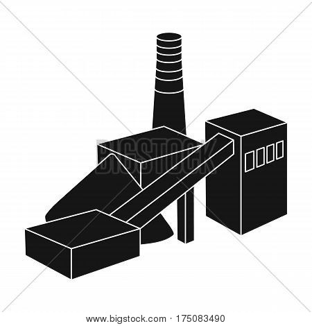 The plant with the pipe.Factory on processing of minerals from the mine.Mine Industry single icon in black style vector symbol stock web illustration.