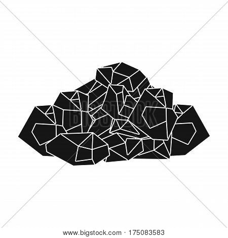 Black minerals from the mine.Coal, which is mined in the mine.Mine Industry single icon in black style vector symbol stock web illustration.