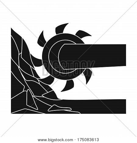 Large cutting wheel. Machine for extraction of minerals.Mine Industry single icon in black style vector symbol stock web illustration.