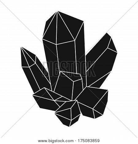 Blue mineral.Crystal, which is a towns produced in the mine.Mine Industry single icon in black style vector symbol stock web illustration.