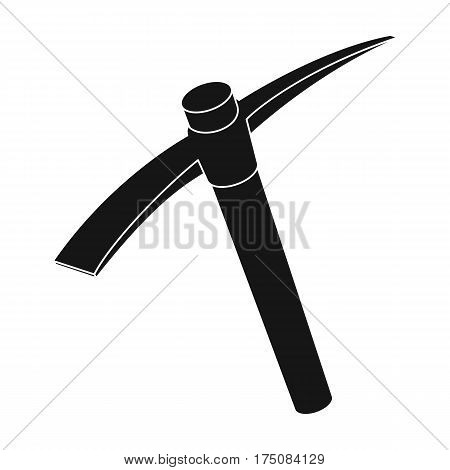 A wooden pickaxe with an iron tip.The tool that miners manually extract the minerals in the mine.Mine Industry single icon in black style vector symbol stock web illustration.