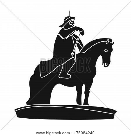 The monument to the military of Mongolia on horseback.The statue stands in Mongolia.Mongolia single icon in black style vector symbol stock web illustration.
