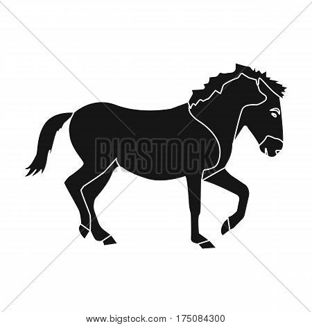 Mongolian horse. Vehicle ancient mongolov in the war.Mongolia single icon in black style vector symbol stock web illustration.
