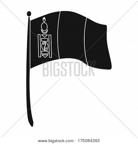 The tricolor on the stick.National flag of Mongolia.Mongolia single icon in black style vector symbol stock web illustration.