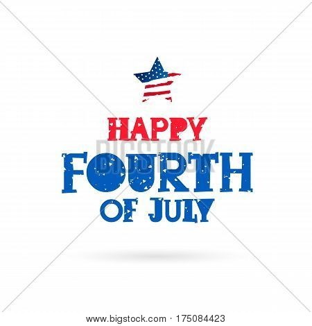 Happy 4th of July. Lettering. Vector illustration on white background. Great holiday gift card. Birthday America.