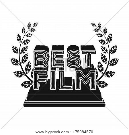Golden statue with a wreath and inscription.The prize for best film.Movie awards single icon in black style vector symbol stock web illustration.