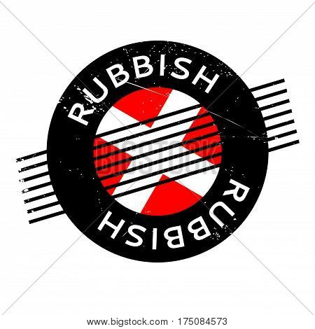 Rubbish rubber stamp. Grunge design with dust scratches. Effects can be easily removed for a clean, crisp look. Color is easily changed.