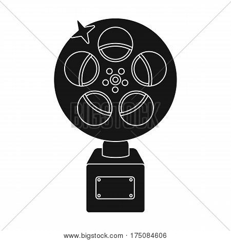 The Golden reel of film.Award for the best playback of the movie.Movie awards single icon in black style vector symbol stock web illustration.