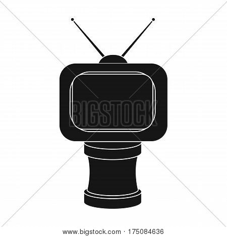 Bronze award in Famer of the TV with aerial.Trophy for best film.Movie awards single icon in black style vector symbol stock web illustration.