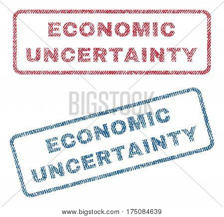 Economic Uncertainty text textile seal stamp watermarks. Blue, red fabric vectorized texture. Vector tag inside rounded rectangular banner. Rubber sign with fiber textile structure.