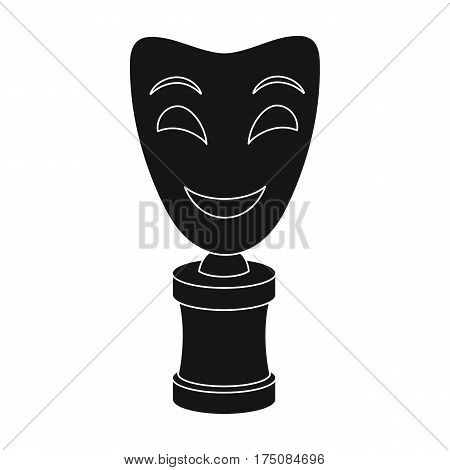 White mask MIME on the stand.The prize for best drama.Movie awards single icon in black style vector symbol stock web illustration.