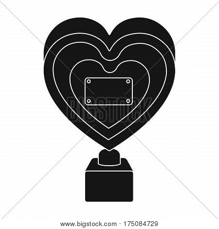 Bronze heart in the form of awards.The audience award for best film.Movie awards single icon in black style vector symbol stock web illustration.