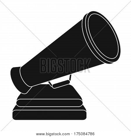 The prize in the form of a loudspeaker on a stand.The award for best Director.Movie awards single icon in black style vector symbol stock web illustration.
