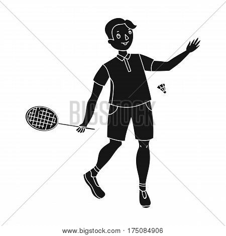 Young people involved in badminton. The game of badminton with a partner.active sports single icon in black style vector symbol stock webillustration.