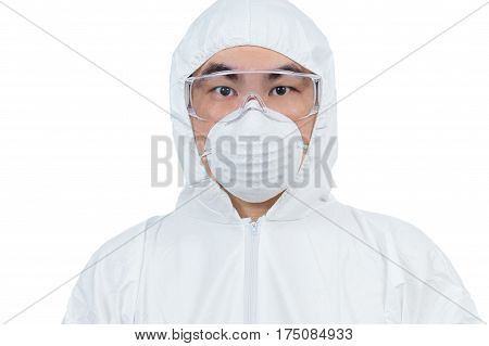 Asian Chinese Scientist In Protective Wear With Glasses And Respirator