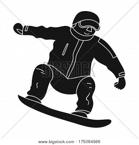 The athlete with the blue jacket and red pants on a snowboard.Snowboarder at the actives.active sports single icon in black style vector symbol stock web illustration.