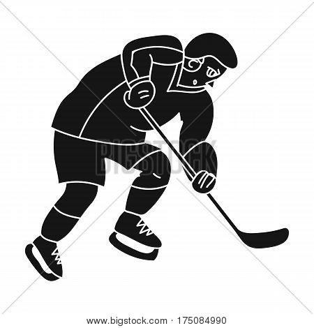 Hockey player in full gear with a stick playing hockey.Winter active sport.active sports single icon in black style vector symbol stock web illustration.
