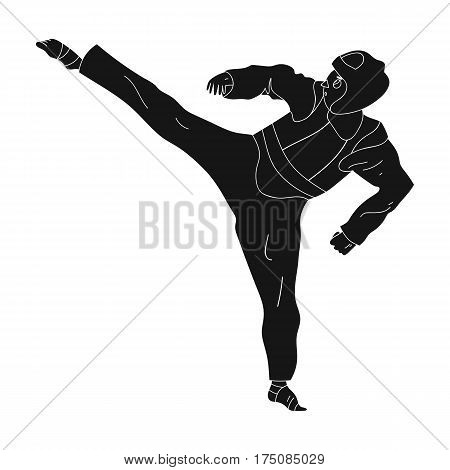 Taekwondo fighter in white kimono and red protection sports.active sports single icon in black style vector symbol stock web illustration.