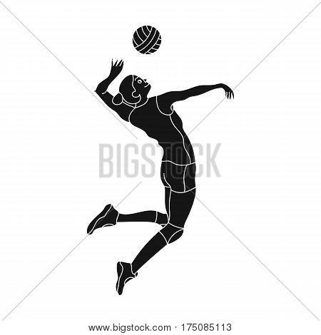 High athlete plays volleyball.The player throws the ball in.active sports single icon in black style vector symbol stock web illustration.