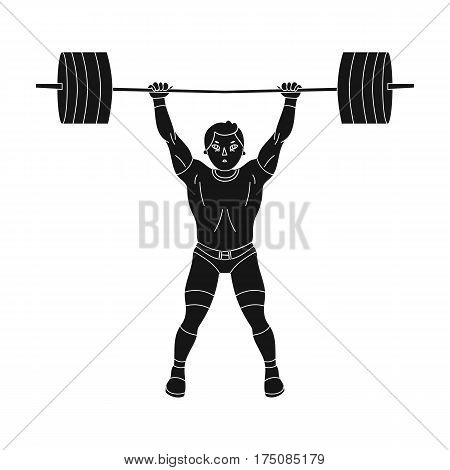 Strong weightlifter raises the bar in the gym.The athlete lifts a huge weight.active sports single icon in black style vector symbol stock web illustration.