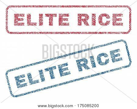 Elite Rice text textile seal stamp watermarks. Blue, red fabric vectorized texture. Vector tag inside rounded rectangular banner. Rubber sticker with fiber textile structure.