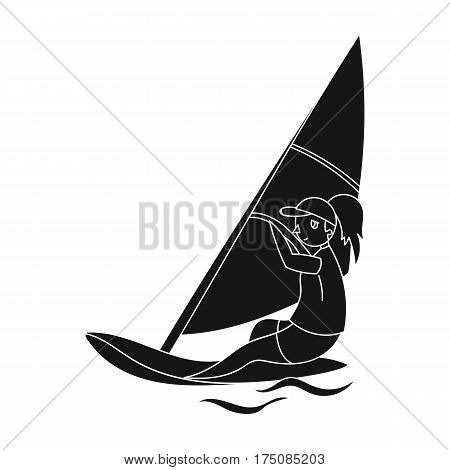 Girl in swimsuit on a sailing boat.The athlete involved in sailing at sea .active sports single icon in black style vector symbol stock web illustration.