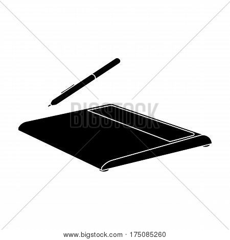 Drawing tablet icon in black design isolated on white background. Personal computer accessories symbol stock vector illustration.