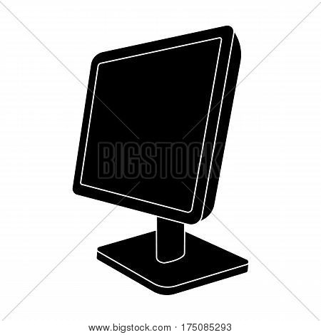 Computer monitor icon in black design isolated on white background. Personal computer accessories symbol stock vector illustration.