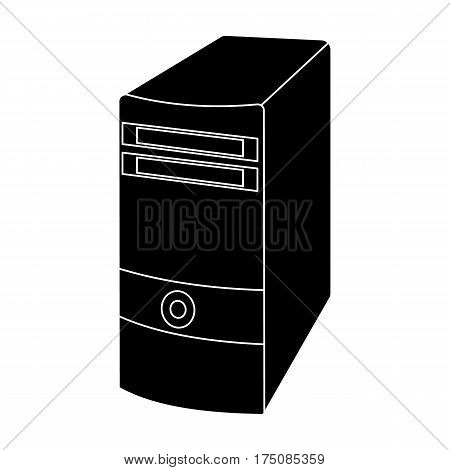 Computer case icon in black design isolated on white background. Personal computer accessories symbol stock vector illustration.