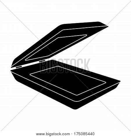 Scanner icon in black design isolated on white background. Personal computer accessories symbol stock vector illustration.