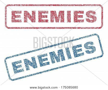 Enemies text textile seal stamp watermarks. Blue, red fabric vectorized texture. Vector tag inside rounded rectangular banner. Rubber emblem with fiber textile structure.