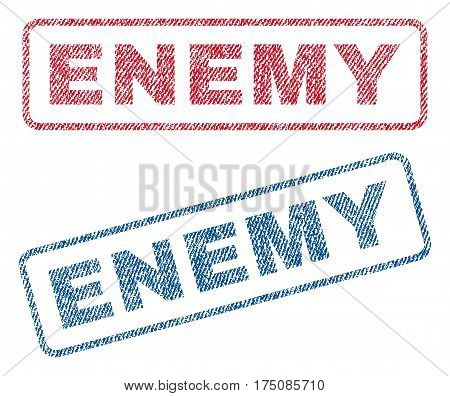Enemy text textile seal stamp watermarks. Blue, red fabric vectorized texture. Vector caption inside rounded rectangular banner. Rubber sticker with fiber textile structure.