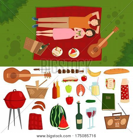 Top view of couple in love lying on picnic plaid barbecue outdoor icons and romantic date people cooking summer food character vector illustration. Barbeque steak together relationship relaxation.