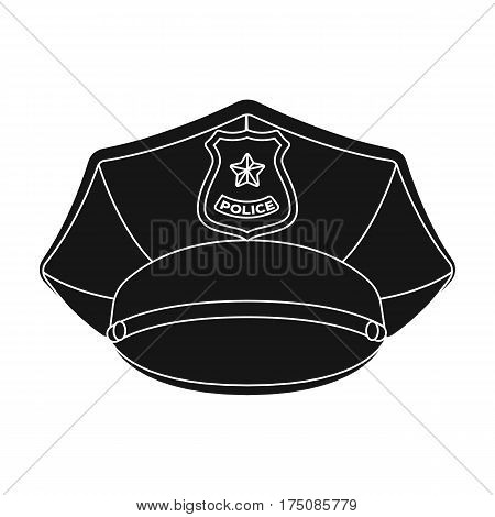 Police cap icon in black design isolated on white background. Police symbol stock vector illustration.