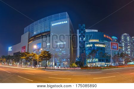 BUSAN KOREA: MARCH 292016: Shinsegae Department Store the The world's largest department store Busan South Korea