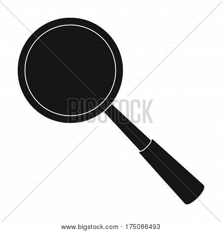 Magnifying glass icon in black design isolated on white background. Precious minerals and jeweler symbol stock vector illustration.