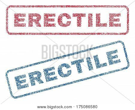 Erectile text textile seal stamp watermarks. Blue, red fabric vectorized texture. Vector tag inside rounded rectangular shape. Rubber emblem with fiber textile structure.