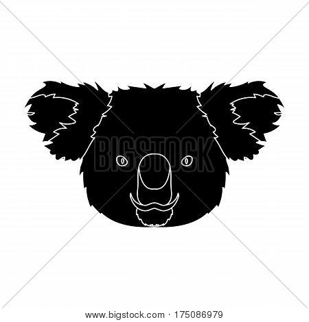 Koala icon in black design isolated on white background. Realistic animals symbol stock vector illustration.