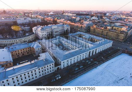 Beautiful Super Wide-angle Summer Aerial View Of Saint-petersburg, Russia With Skyline And Scenery B
