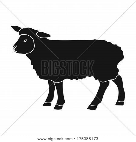 Sheep icon in black design isolated on white background. Scotland country symbol stock vector illustration.