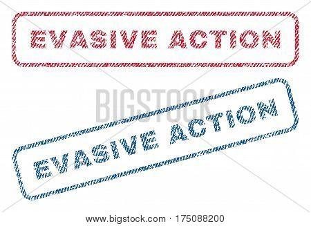Evasive Action text textile seal stamp watermarks. Blue, red fabric vectorized texture. Vector tag inside rounded rectangular banner. Rubber emblem with fiber textile structure.