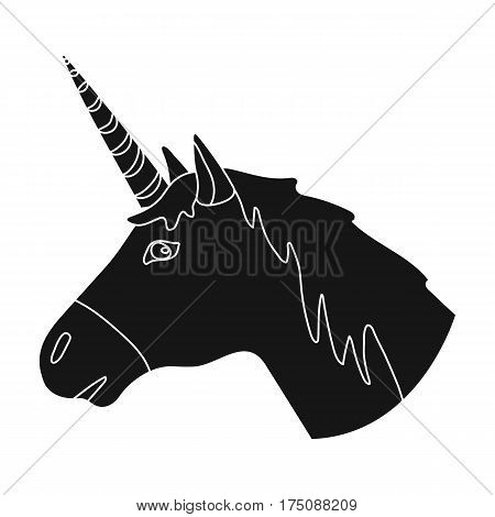 Unicorn icon in black design isolated on white background. Scotland country symbol stock vector illustration.