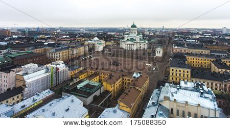 Beautiful Super Wide-angle Summer Aerial View Of Helsinki Capital, Finland With Skyline And Scenery