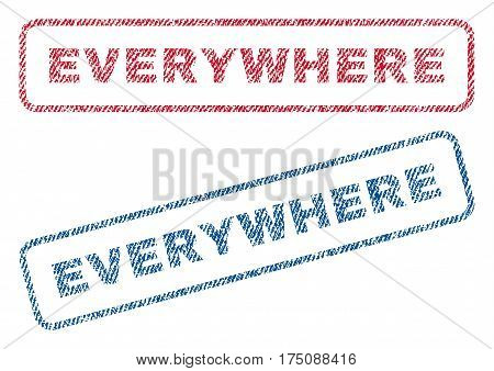 Everywhere text textile seal stamp watermarks. Blue, red fabric vectorized texture. Vector tag inside rounded rectangular banner. Rubber sign with fiber textile structure.