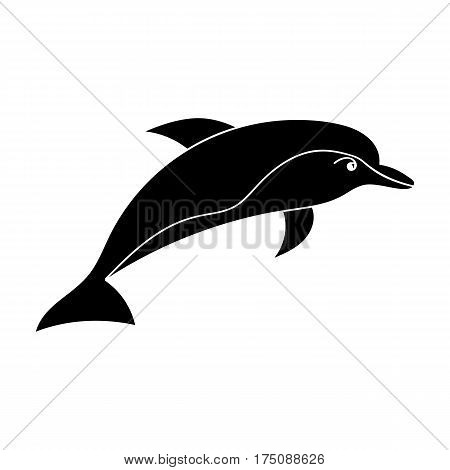 Dolphin icon in black design isolated on white background. Sea animals symbol stock vector illustration.