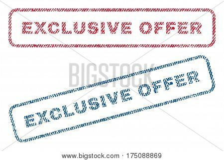 Exclusive Offer text textile seal stamp watermarks. Blue, red fabric vectorized texture. Vector tag inside rounded rectangular banner. Rubber sign with fiber textile structure.