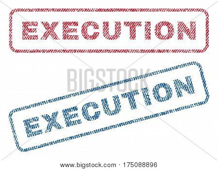Execution text textile seal stamp watermarks. Blue, red fabric vectorized texture. Vector tag inside rounded rectangular shape. Rubber sign with fiber textile structure.