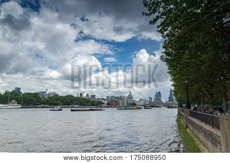 LONDON, ENGLAND - JUNE 15 2016: Panoramic view of Thames river and City of London, Great Britain